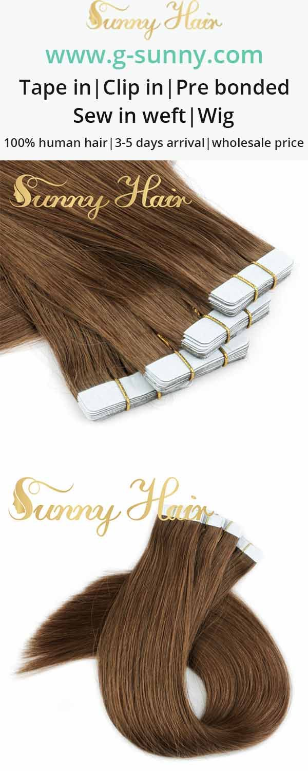 sunny hair brown tape in human hair extensions. g-sunny.com