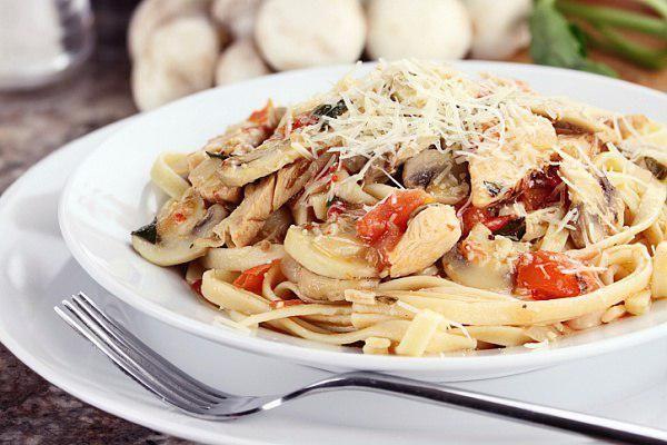 Паста с курицей и грибами паста, курица, грибы, ужин, рецепт, Ежедневник Поварёшки, длиннопост
