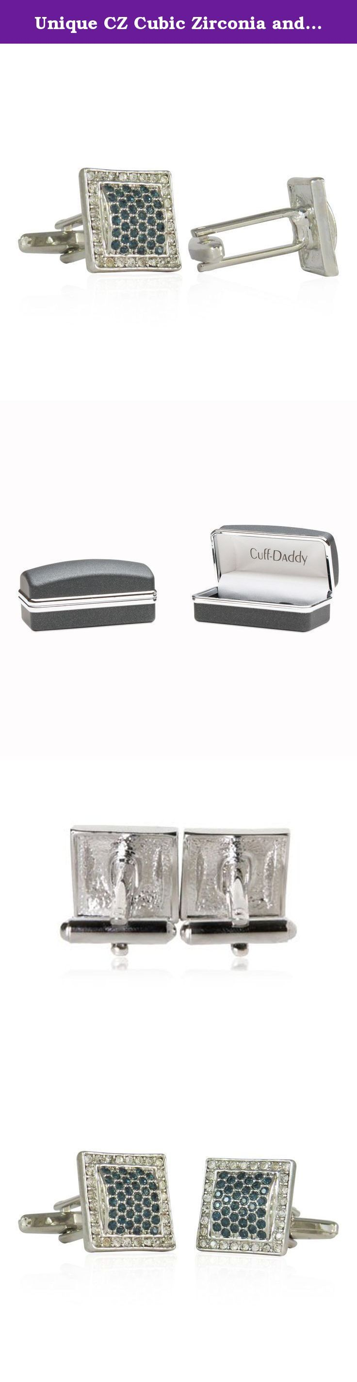 Unique CZ Cubic Zirconia and Faux Sapphire Silver Cufflinks by Cuff-Daddy. Cubic zirconia's surround faux sapphires in this classic set of silver-tone, silver cufflinks. Superb craftsman ship includes hand placed stones on each pair. The designers worked diligently to reduce their weight, making them among the lightest we have to offer. PLEASE NOTE: the faux sapphires are actually a little darker than pictured. Our photographer was challenged capturing the true color on film. These…
