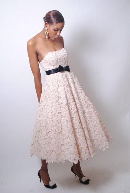 vintage 50s style LACE crochet wedding dress