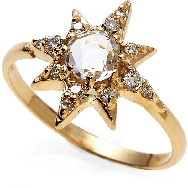 Anzie 14K Gold Star Ring ($700) ❤ liked on Polyvore featuring jewelry, rings, gold, 14k yellow gold ring, 14k ring, blue jewelry, enhancer ring and gold jewellery
