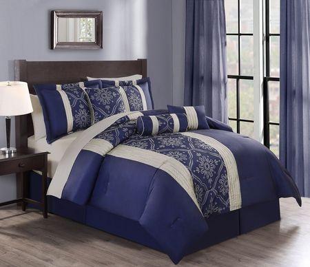 7 Piece Soleil Navy Comforter Set