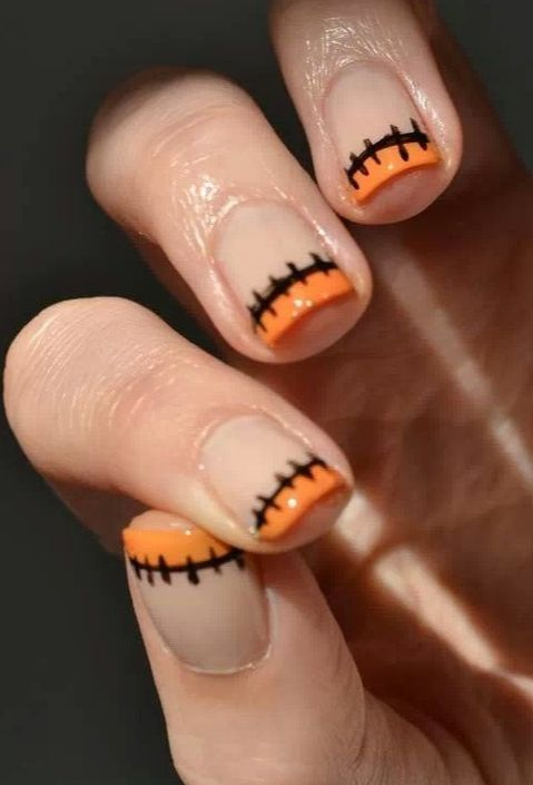Stitched French Manicure | 13 Halloween-Inspired Manicure Ideas | http://www.hercampus.com/beauty/13-halloween-inspired-manicure-ideas