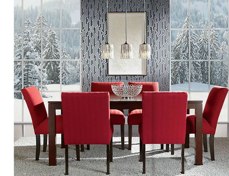 Red interiors. Ethan Allen red dining room ideas. Modern dining rooms. Red dining chairs.
