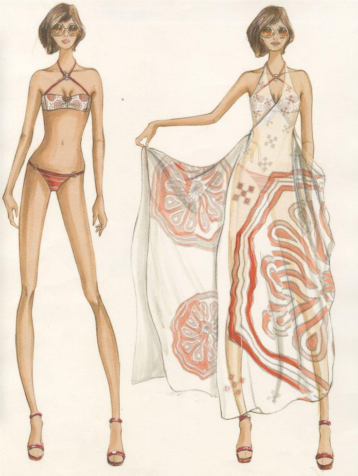 Design & Illustration by Ming Yang for Trina Turk | Otis Fashion