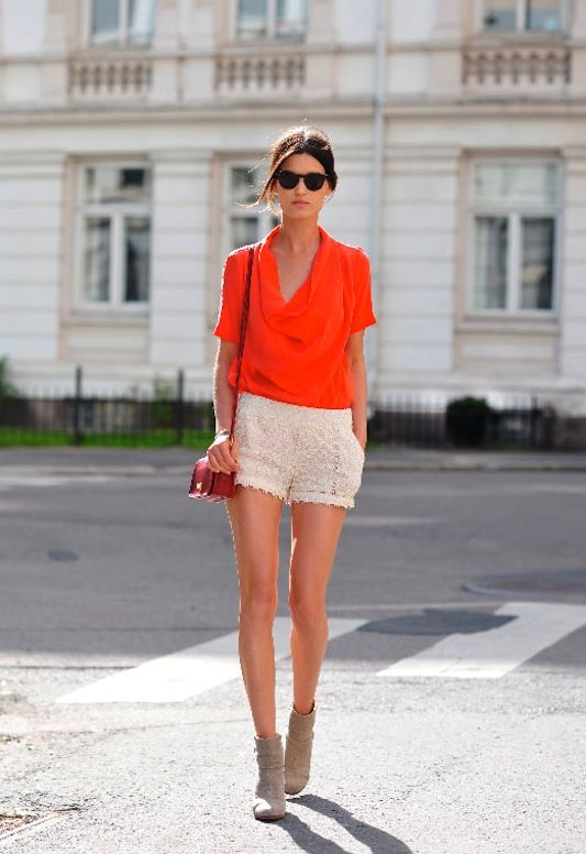 Tangerine Top and Crochet Shorts