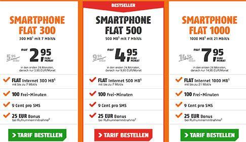 Klarmobil Telekom Tarife mit bis zu 1GB Internet Flat ab 2,95€ http://www.simdealz.de/telekom/klarmobil-smartphone-flat-angebote/