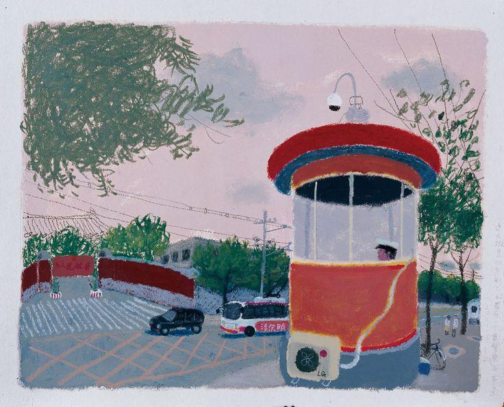 "Wang Yuping, ""North Gate of Zhong Nan Hai"", acrylic and oil pastel on paper, 68 x 58 cm"