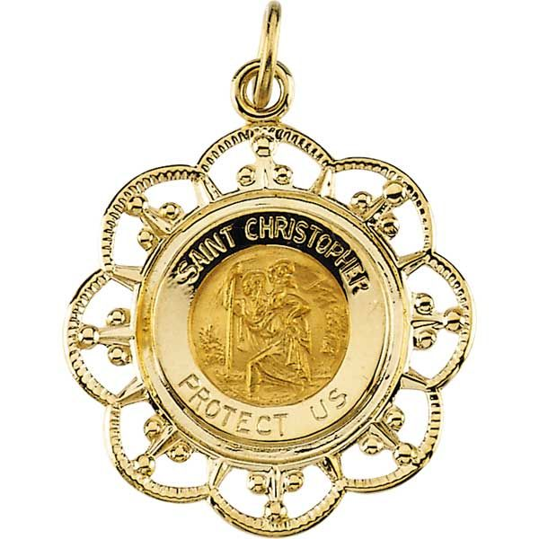 St Christopher Fleur-De-Lis Solid Yellow Gold Protect Us Medal md:1019:y