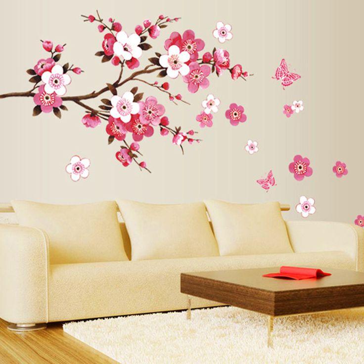 espacios papel arte de la pared pegatina vinilos adhesivos arte del vinilo arte de la pared mural rbol de la flor el cuarto wall vinyl