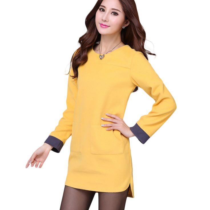 New Autumn Winter Casual Ladies Dress For Chubby Girls Fashion Women Dresses Plus Size Yellow Vestidos Femininos