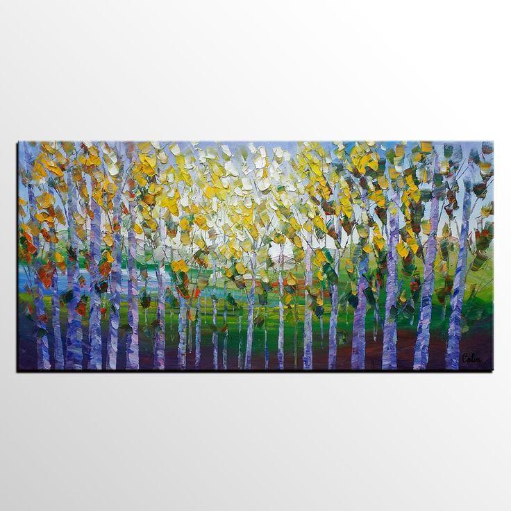 Abstract Landscape Art, Autumn Tree Art, Heavy Texture Wall Art