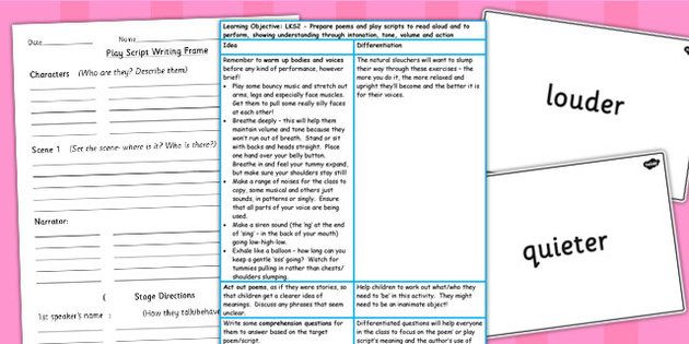 Prepare Poems and Play Scripts to Perform Lesson Ideas and Resource Pack LKS2