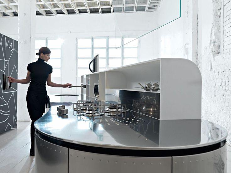 Fitted kitchen artematica curva by valcucine design alessandro mendini gabriele centazzo