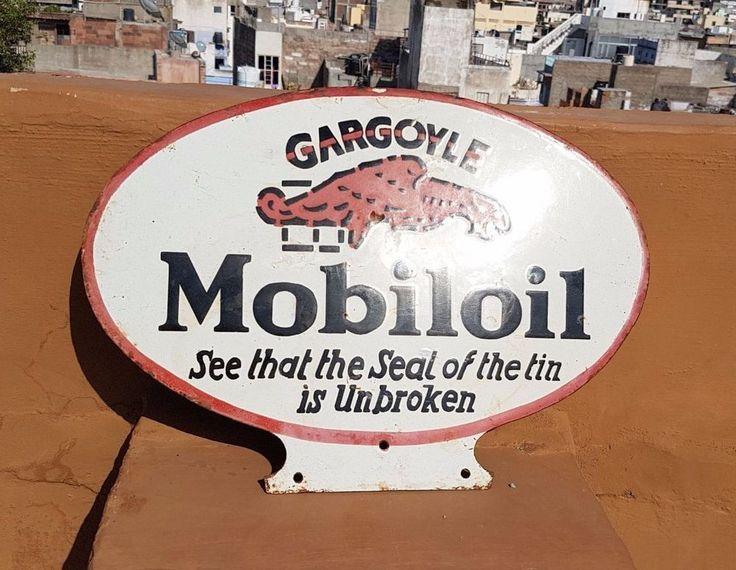 Original 1930's Old Vintage RARE Gargoyle Mobil Oil Porcelain Enamel Sign Board #MobilOil
