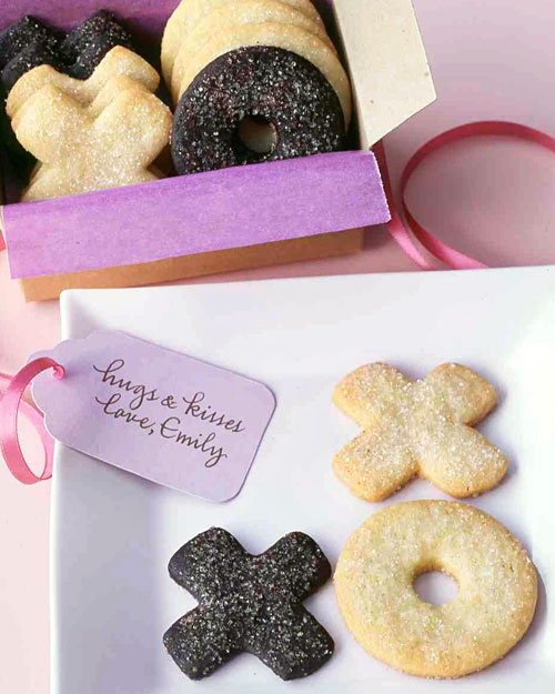 Hugs & Kisses Sugar Cookies~Ingredients: 2 cups all-purpose flour plus more for parchment, 1/4 teaspoon salt,        1/2 teaspoon baking powder,     1/2 cup (1 stick) unsalted butter softened, 1 cup granulated sugar,   1 large egg, 1 teaspoon pure vanilla extract & Sanding sugar for sprinkling