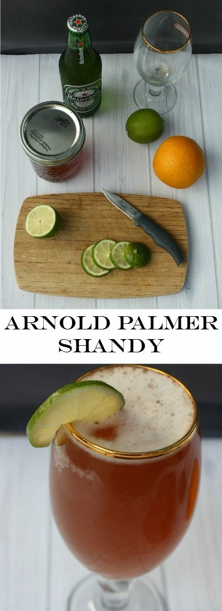 Arnold Palmer Shandy combines ice tea lemonade with beer for a refreshing cocktail.
