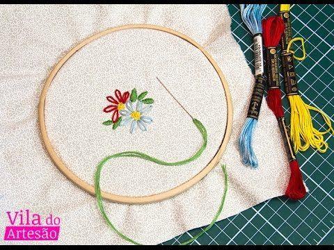 Como bordar uma flor simples                                                                                                                                                                                 Mais