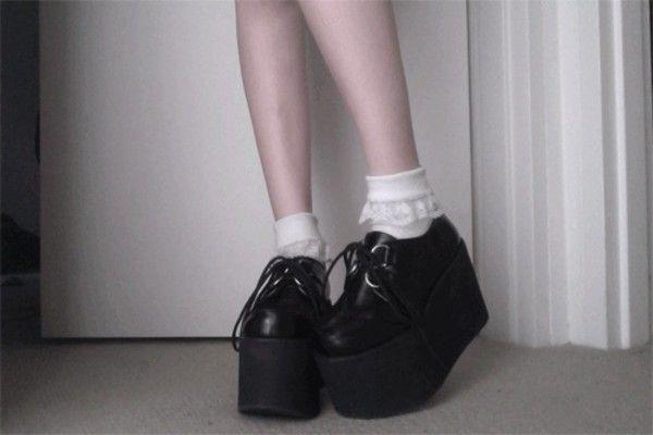Shoes: fashion soft grunge grunge pale pastel goth creepers platform platforms fashion cute tumblr