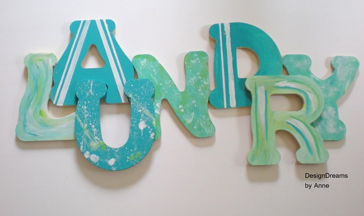 """DesignDreams by Anne: """"Paint Spatters, Stripes & Swirls Oh My"""" Laundry Sign & Mudroom Makeover"""