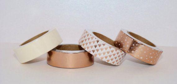 Lot de 4 Washi Tape : cuivre, cuivre pois blancs, blanc à triangles cuivrés, blanc - cadeau Noël - emballage - décoration - mariage
