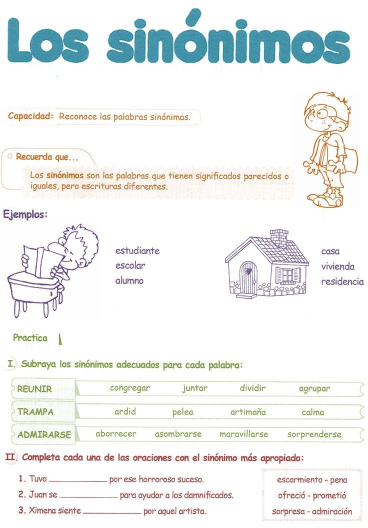 Sinónimos para niños 4° Grado Primaria | Razonamiento Verbal