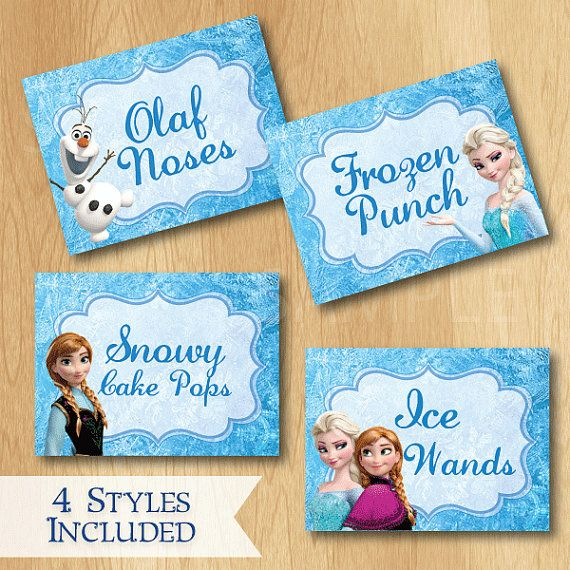 Disney Frozen Food Labels - Custom Disney Frozen Birthday Printable Party Treat Tent Labels Place Cards on Etsy, $5.99