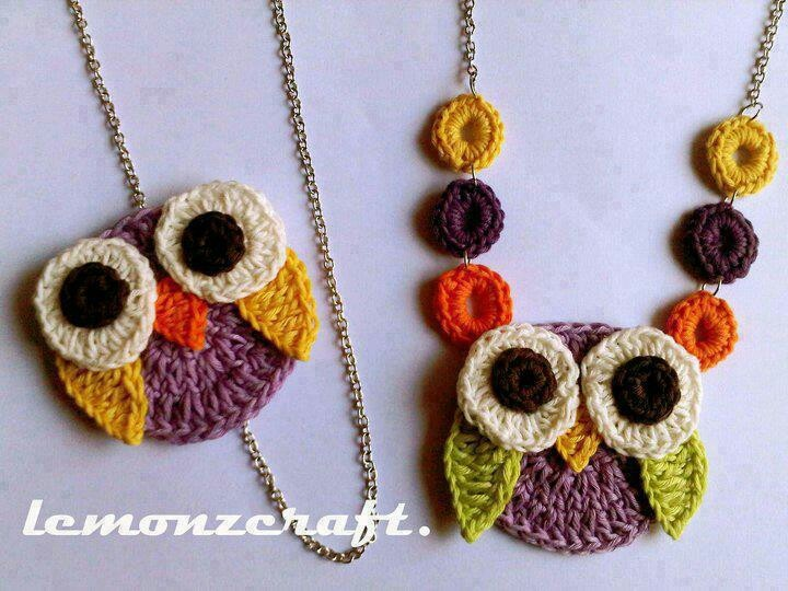 Owl necklace crochet