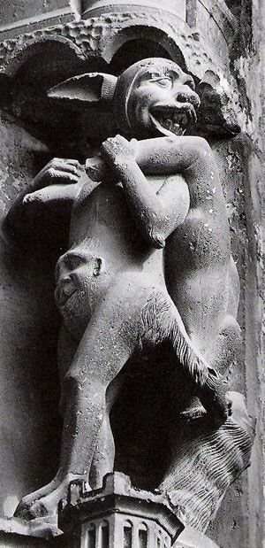 From the 11th to the 13th Centuries, rabbits became reviled for their pagan connections to sexuality, easy fertility, and as the important women's religious symbol: the moon. A carved stone, southern portal of Chartres Cathedral shows a lewd, laughing rabbit-man tempting and carrying off a chaste young woman