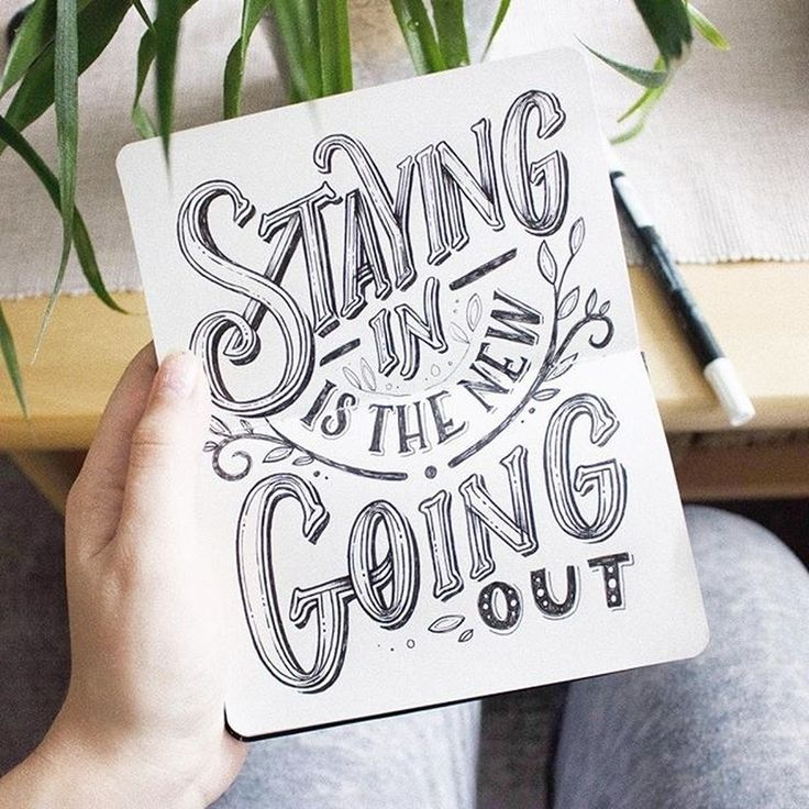 staying in is the #new going out - a fantastic example of #lettering by @magda_kon. #handmadefont