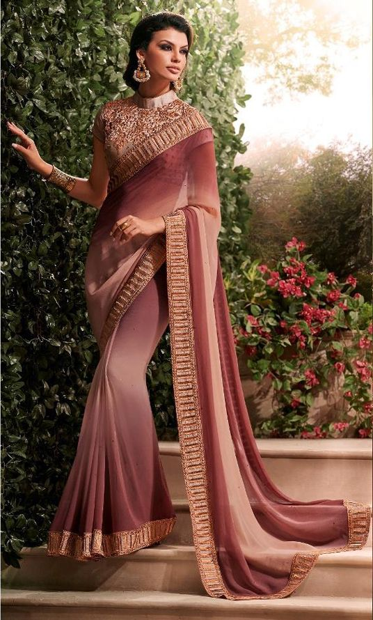 USD 50.46 Peach Georgette Party Wear Saree 54258