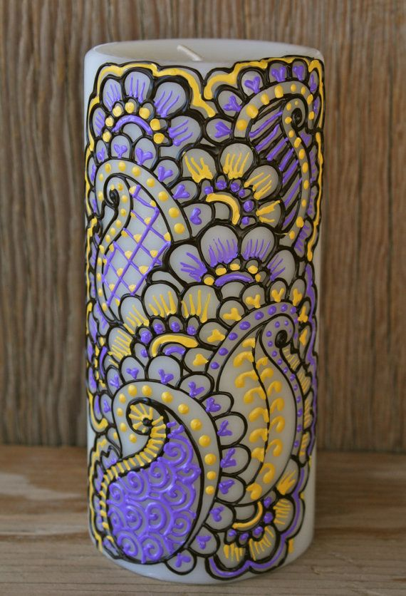 Purple and yellow Henna Style Decorative Wine bottle Vase Sunshine by LucentJane