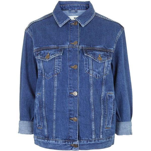 TOPSHOP MOTO Oversized Western Jacket (1312145 BYR) ❤ liked on Polyvore featuring outerwear, jackets, denim jacket, coats & jackets, blue, indigo denim, jean jacket, topshop, oversized jacket and western denim jacket
