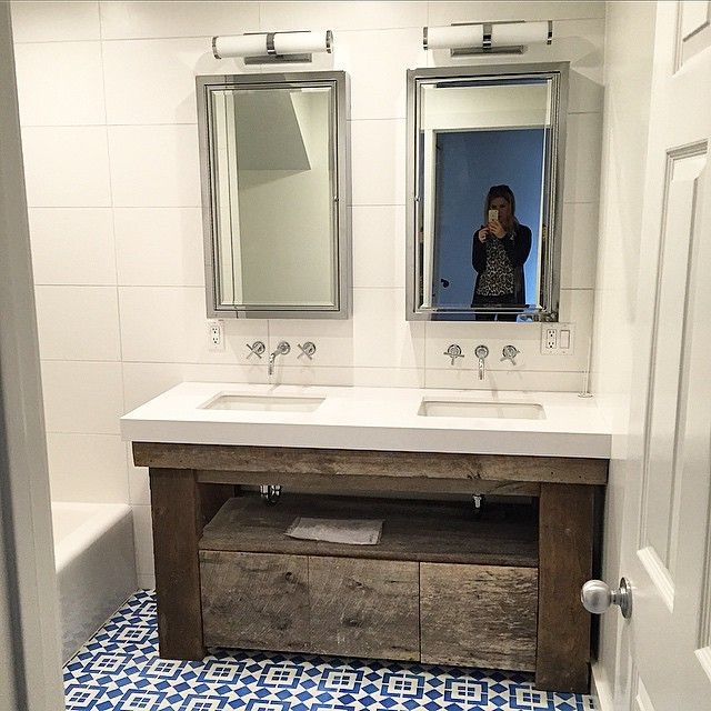 Make Photo Gallery One of our bathrooms is finished and I could not be happier with the result The Moroccan tile and reclaimed vanity walked directly out