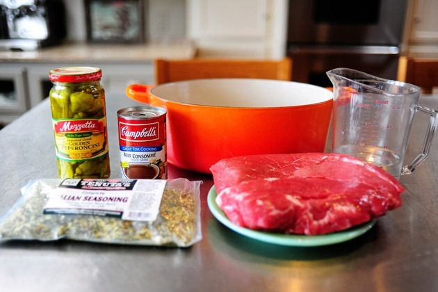 Italian Beef with Peperoncinis - first version, slow cooker