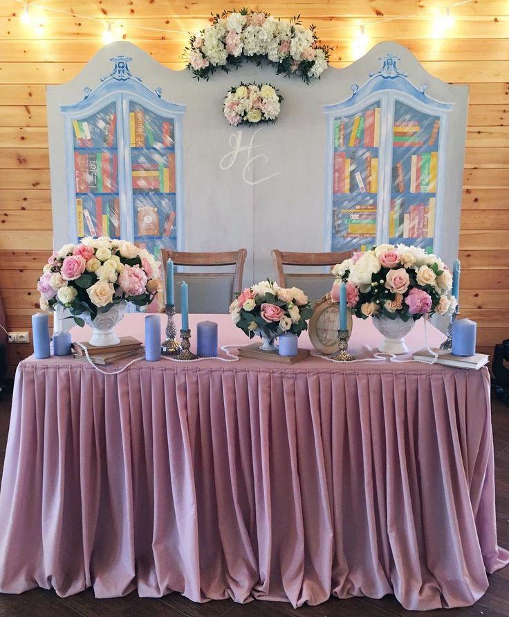 Украшение стола жениха и невесты фото