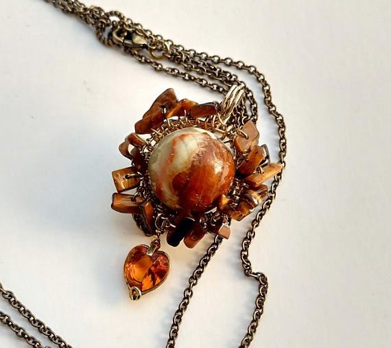 Spinner bead necklace large bead necklace agate necklace
