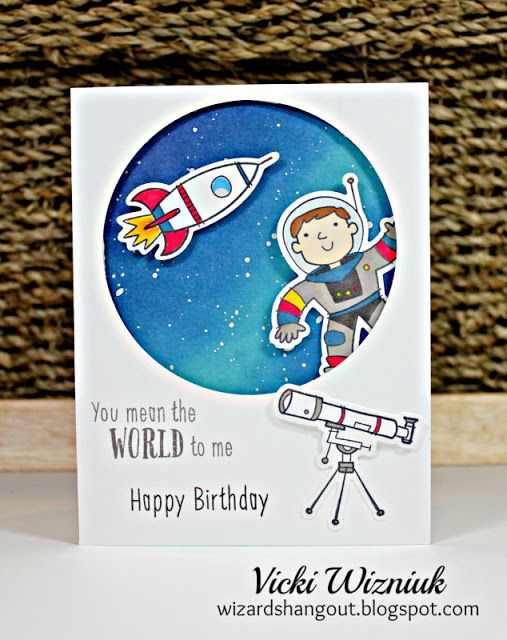 Cute birthday card using CTMH Stargazer stamp set with matching Thin Cuts dies. by Vicki Wizniuk