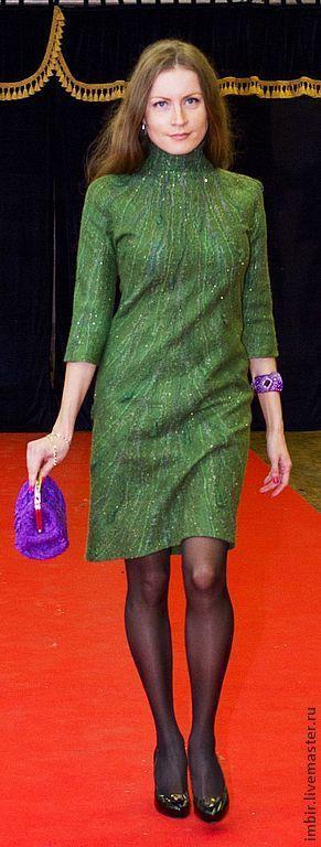 """Купить Платье """"Провокация"""" - тёмно-зелёный, зеленый, бутылочный, платье, Платье нарядное, платье валяное"""