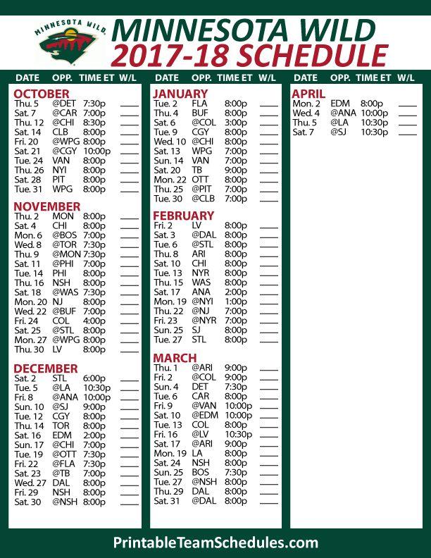 Minnesota Wild Hockey Schedule 2017-18