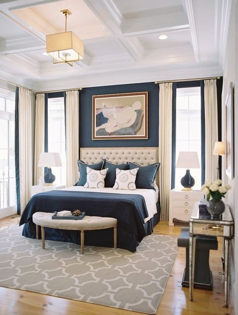 Navy Blue Bedroom With Coffered Ceilings Master Ideas Tufted Headboard Bench At The End Of Bed Dream