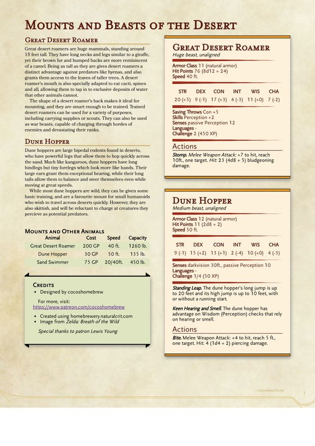 Dungeons That Drop Mounts : dungeons, mounts, Mounts, Beasts, Desert, Coco's, Homebrew, Patreon, Brewing,, Dungeons, Dragons, Homebrew,