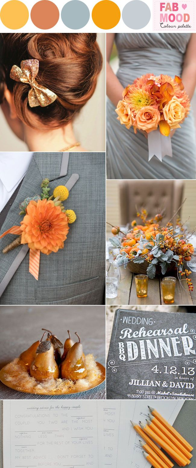 Marigold & grey wedding inspiration | FAB Mood | Inspiration Colour Palettes
