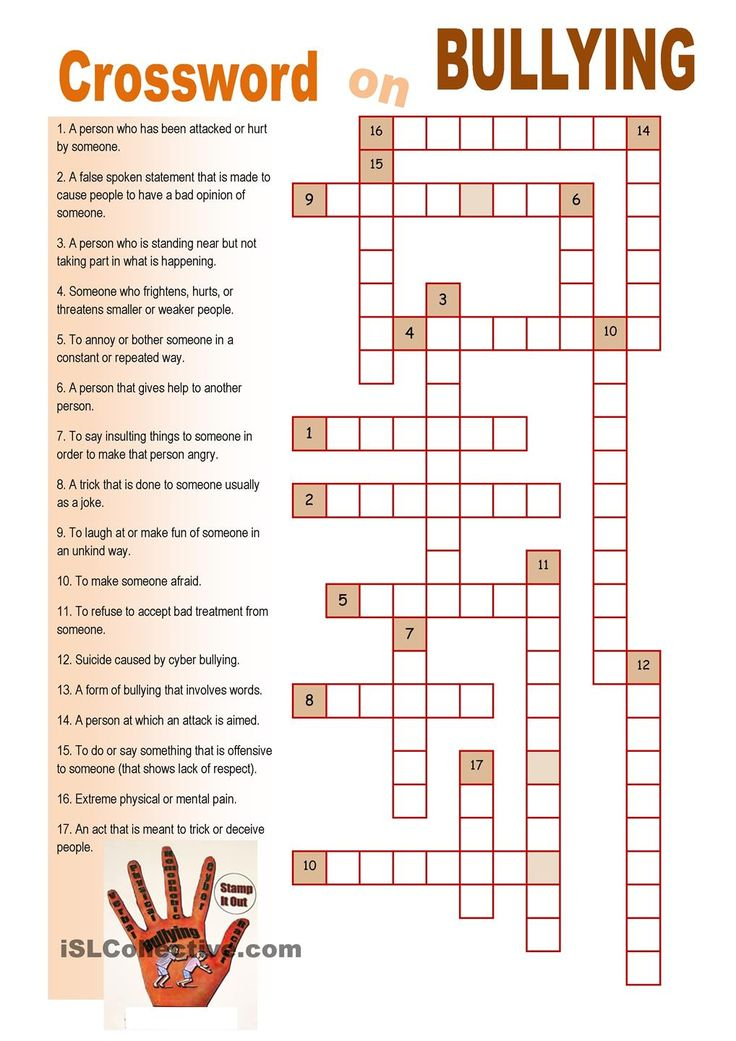 Crossword On Bullying Bullying Worksheets Bullying