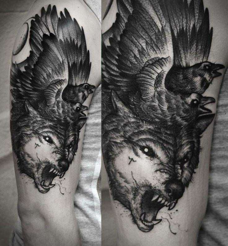 tattoo wolf knurren zaehne vogel kombination design grau