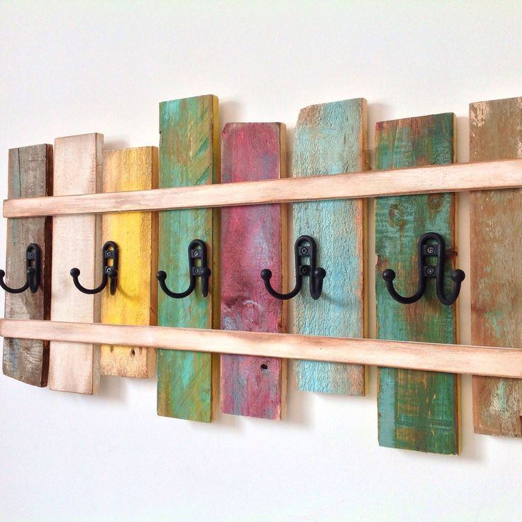 Wood Coat Rack OOAK Cast Iron Coat Hook / Shabby Cottage ...