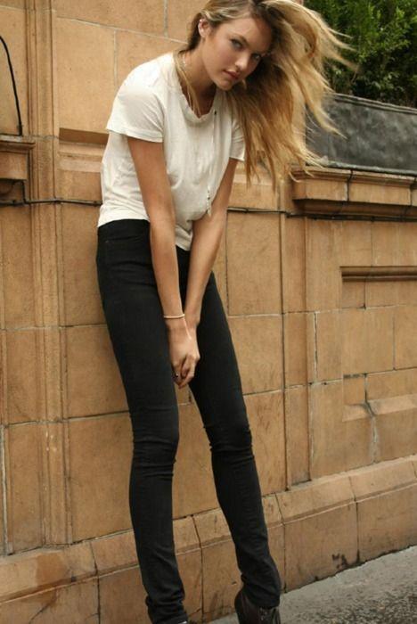 .: Black Skinny, Fashion Models, Candice Swanepoel, Style Inspiration, Models Style, Street Style, Fashion Photography, Black Jeans, Black Pants