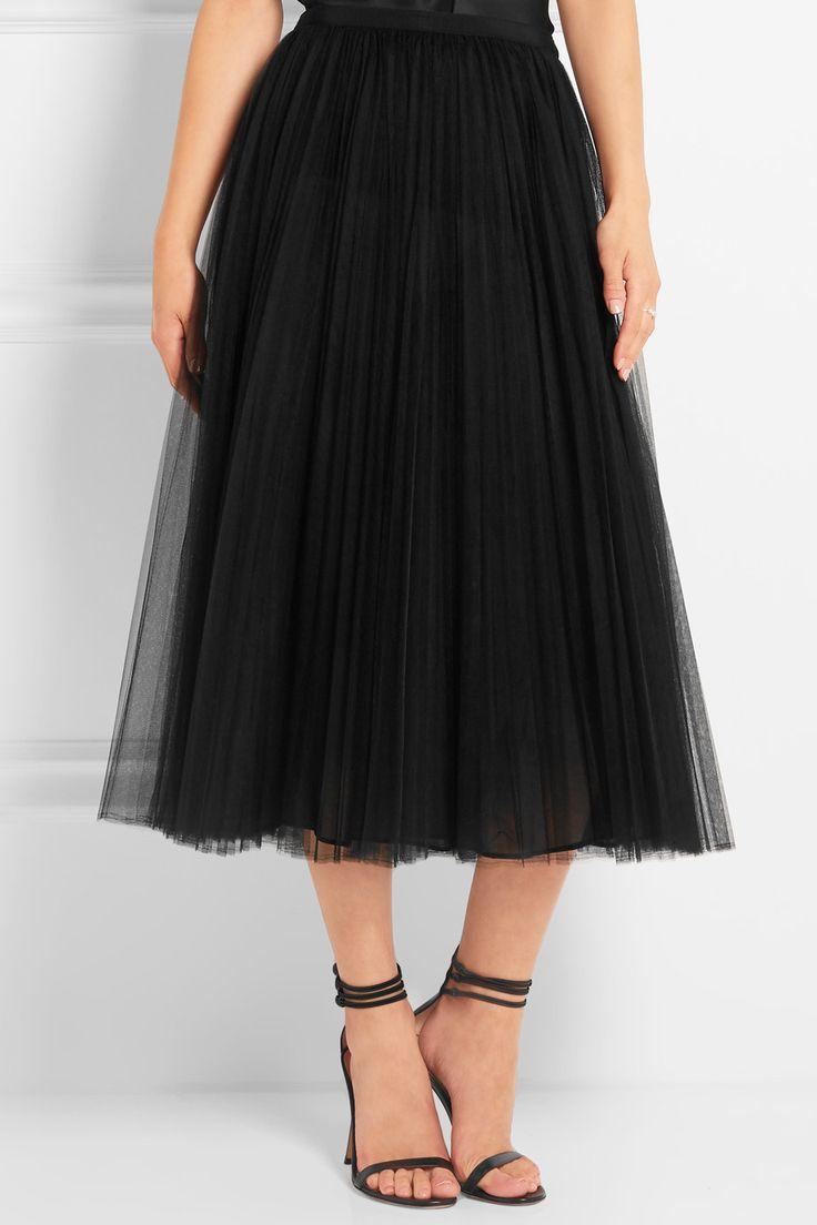 Valentino | Pleated tulle midi skirt | NET-A-PORTER.COM