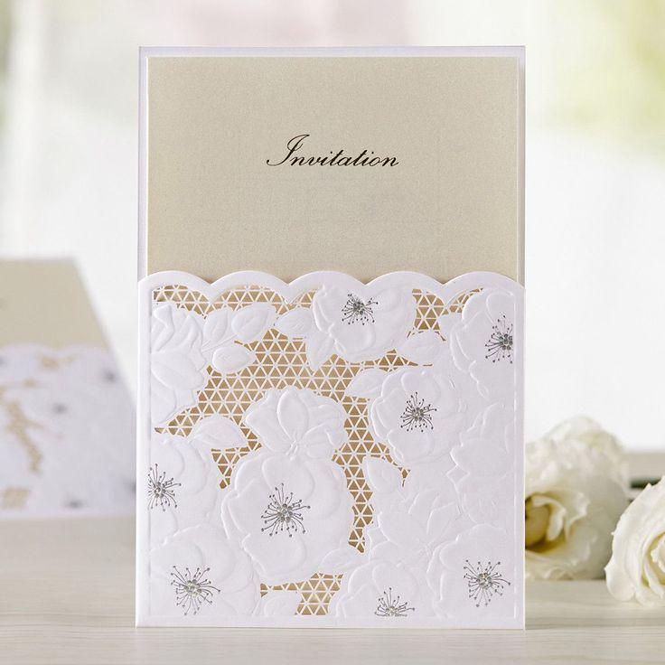 paper cut wedding invitations uk%0A Lace Pocket Floral Gold Wedding Invitations  u     TU       ItsInvitation