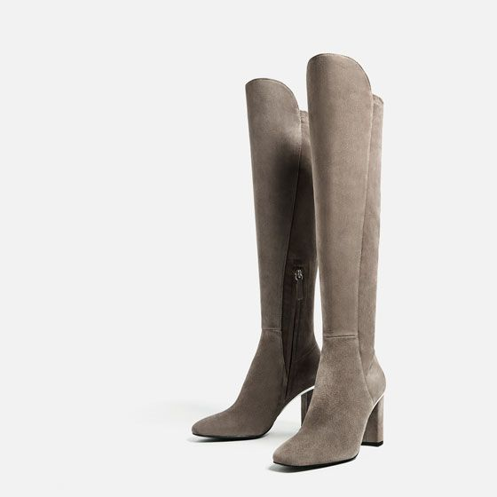 Image 1 of LEATHER HIGH HEEL BOOTS WITH METALLIC DETAIL from Zara